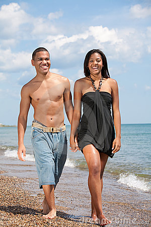 Two Young People Holding Hands By Beach Stock Photography ...