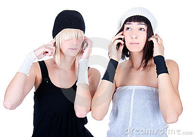 Two young pretty Women make a calls