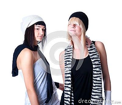 Two young pretty Women posing
