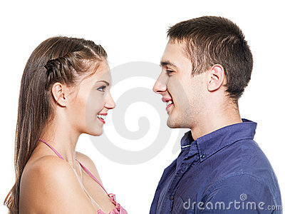 Two young smiling people dating