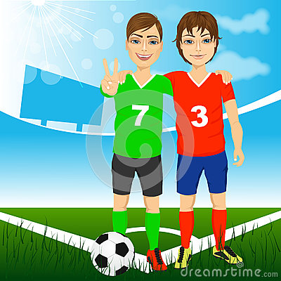 Free Two Young Soccer Players Friends Royalty Free Stock Photos - 63132608