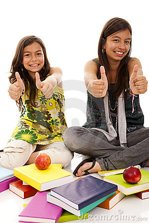 Two young student sisters