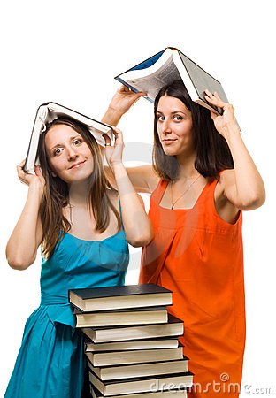 Free Two Young Student Woman Play With Books Royalty Free Stock Photos - 11063048