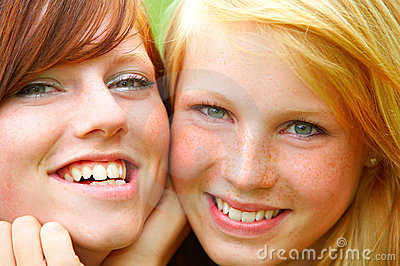 Two young teens. Close-up