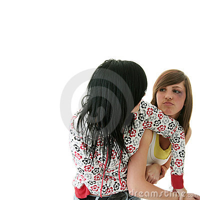 Free Two Young Teens (sisters) Fighting Royalty Free Stock Images - 12245259