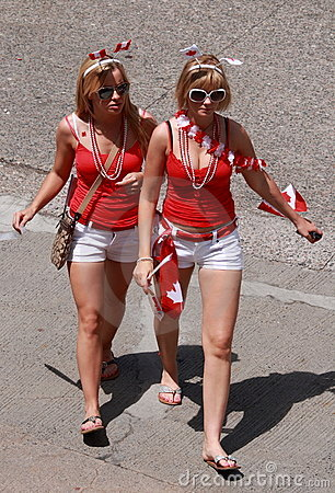 Two Young Women on Canada Day Editorial Photo