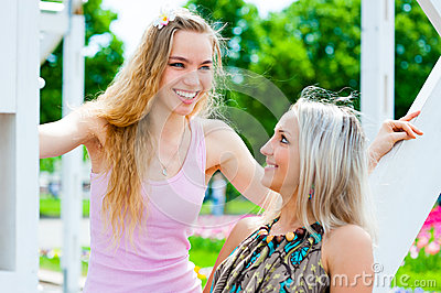 Two young women having fun