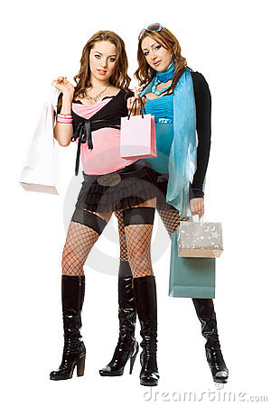 Two young women after shopping