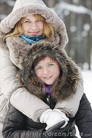 Two young women in winter day