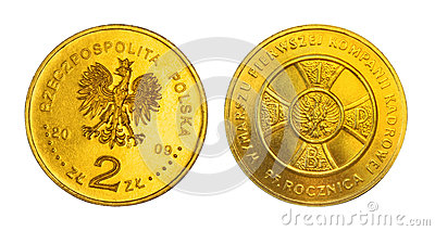 Two zloties anniversary coin