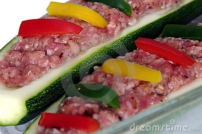 Two zucchini and meat stuffing
