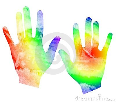 Tye Dyed Watercolor Hand Print