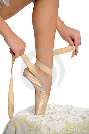 Free Tying Ballet Slippers Stock Photography - 18414242