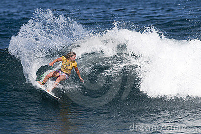 Tyler Wright Surfing in Womens Hawaiian Pro Editorial Stock Image