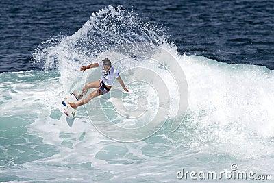 Tyler Wright Surfing in Womens Hawaiian Pro Editorial Photo