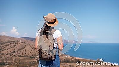 Tylnego widoku backpacker aktywna kobieta podziwia pięknego seascape zbliża się wierzchołek góra zbiory