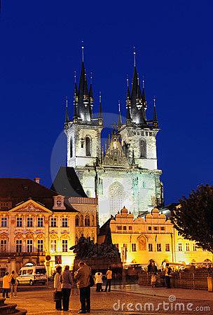 Tyn Church at night, Prague Old City