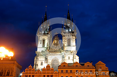Tyn Church in Prague at night