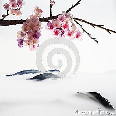 type de peinture chinoise des fleurs de cerisier image libre de droits image 28730666. Black Bedroom Furniture Sets. Home Design Ideas