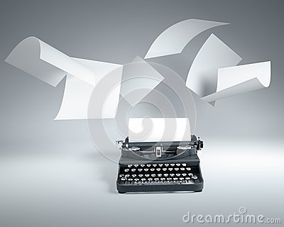 Type writer with paper sheets flying