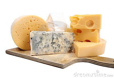 Types of  cheese isolated