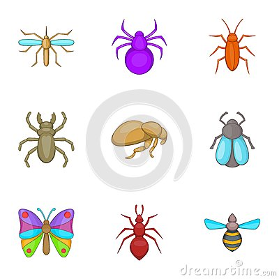 Types Of Insects Icons Set, Cartoon Style Stock Vector - Image ...