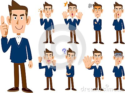 9 types of male expression and pose set _ whole body Vector Illustration