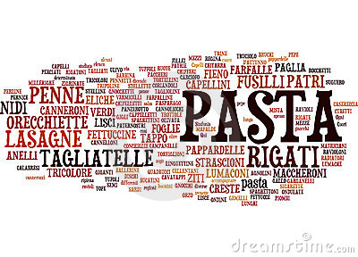 Types of pasta text cloud