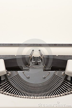 Typewriter with a blank paper inserted