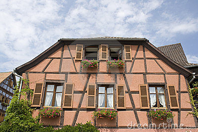 Typical Alsace house. France