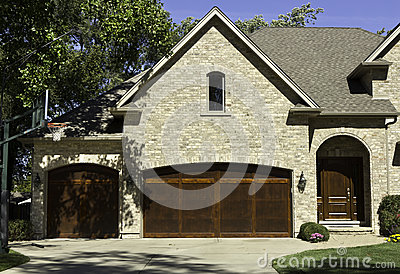 Typical american house with two door garage