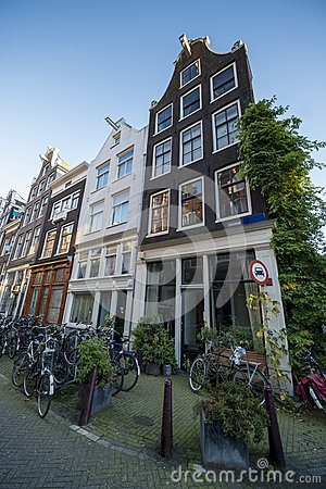 Typical amsterdam houses with bicycles