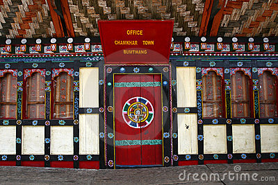 Typical Bhutanese door and windows