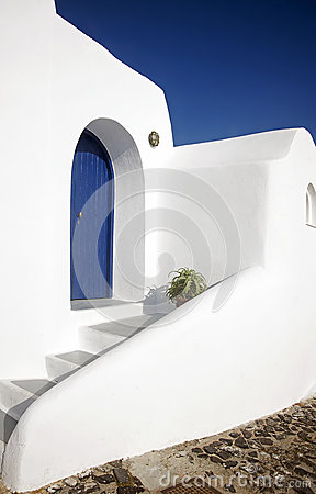 The typical building at Fira, Santorini, Greece