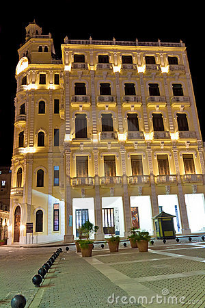 Typical building in Old Havana at night