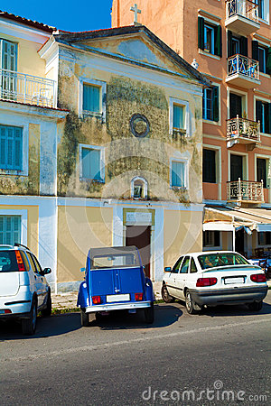 Typical buildings and retro car,  Corfu