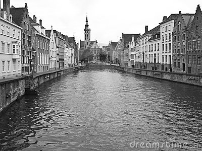 Typical canal of Bruges.