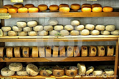 Typical cheese market in Pienza , Italy Editorial Stock Image