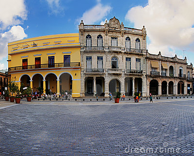 Typical colonial buildings in Old havana plaza