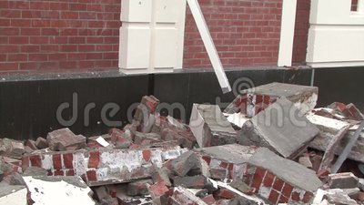 Typical damage. CHRISTCHURCH, NEW ZEALAND, FEBRUARY 23, 2011 - Typical damage to a brick building after a 6.4 earthquake in Christchurch, South Island, New stock video