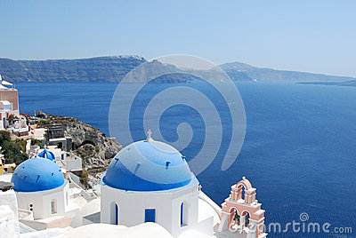 Typical domes in Oia Santorini Island