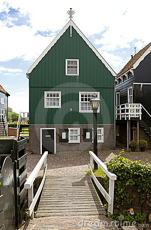 Typical Dutch houses in village Marken
