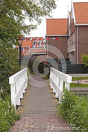 Typical Dutch street in village Marken