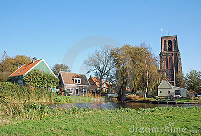 Typical Dutch village-church tower-colorful houses