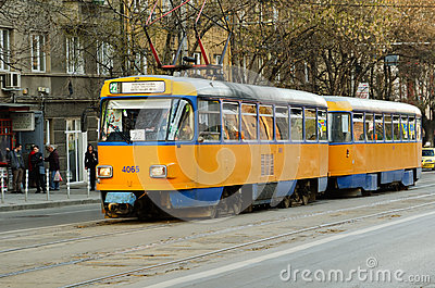 Typical Eastern Europe tram Editorial Image