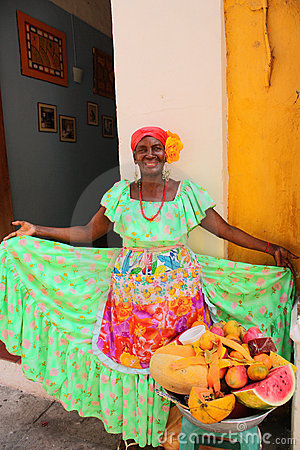 Typical fruit seller. Cartagena de Indias Editorial Stock Photo