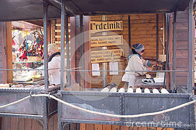 Gastronomic stand in Prague Editorial Stock Image