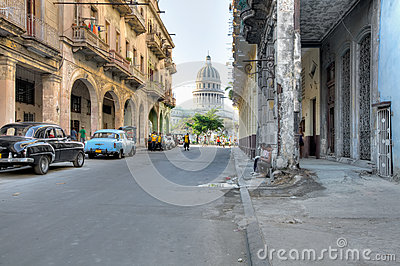 Typical Havana street with view on Capitolio Editorial Stock Photo