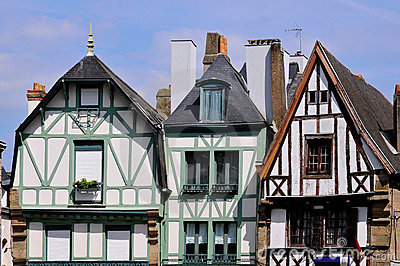 Typical houses of Auray in France