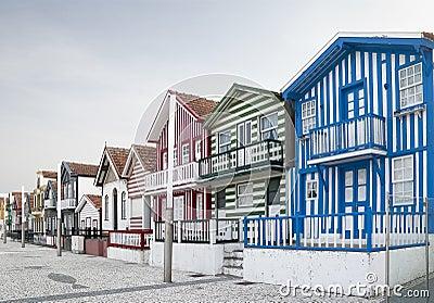 Typical houses of Costa Nova, Aveiro, Portugal.